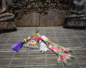 Two Tribes Key Chain,Vintage Textile Key Chain, Bead And Tassel Key Chain, Shell and Bead Key Chain, Tribal Keychain