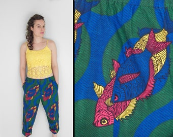 SENEGALESE Fish Pants Cropped Dutch Wax Cotton Fabric Tribal 30 - 35 Waist