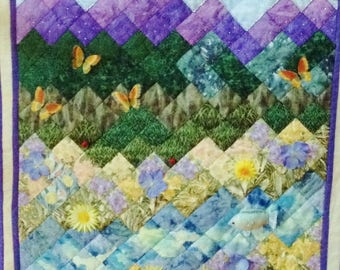 Hand Quilted Embellished Landscape Hand Quilted Wall Hanging Purple Mountains Majesty