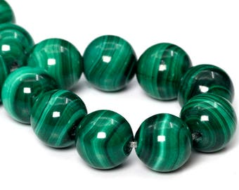 "8MM Malachite Beads South Africa Grade AAA Genuine Natural Gemstone Half Strand Round Loose Beads 3.5"" BULK LOT 1,3,5,10,50 (101765hf-414)"