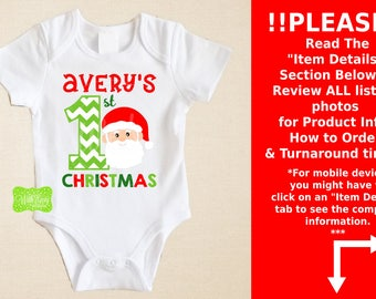 Personalized First Christmas Iron On Transfer - Christmas Iron On - Santa Iron On Transfer -  Christmas Decal - EMAILED or SHIPPED