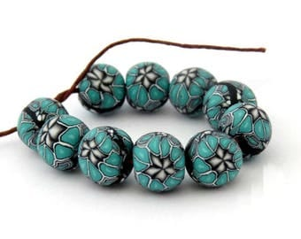 Turquoise beads, flower beads, handmade beads, Craft supplies & tools, unique beads, Artisan beads, DIY Crafts, Jewelry Supply, clay beads