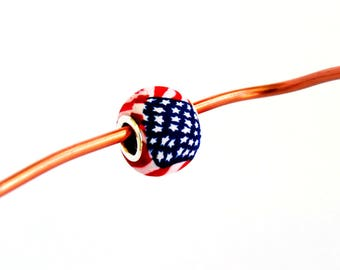 Beads, charm beads, Grommet style bead, USA flag beads, Artisan beads, Compatible with many bracelets and necklace systems, Shygar beads