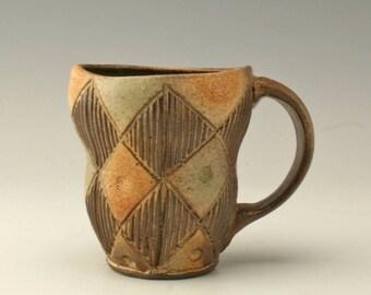 green and brown pottery mug, ceramic coffee mug with carving,coffee mug, carved mug, stoneware mug, unique mug, potterybyshikha, Shikha