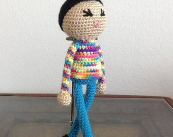 Crochet Androgynous Rainbow Doll with Pompadour, biracial multiracial ambiguous, non gendered, boy girl kids children Gift, MADE TO ORDER