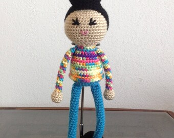READY TO SHIP Crochet Androgynous Doll with Pompadour, biracial multiracial ambiguous, non gendered, boys. Girls kids children gift