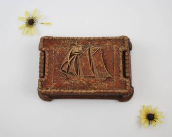 Vintage Syroco Wood Sailboat Trinket Box - Small Wooden Nautical Jewelry Box