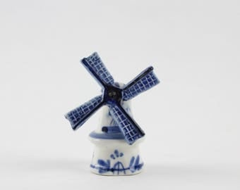 Vintage Delft Holland Windmill Figurine - Blue White Delft Porcelain - Dutch Netherlands Folk Art Hand Painted Windmill