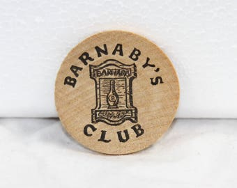 Barnaby's Club Wood Token - Drink Coin - One Stein of Beer Chip - Lot of 7 Tokens - Vintage 1970s
