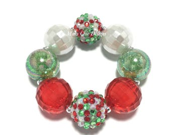Toddler or Girls Red, Green and White Chunky bracelet - Watermelon Chunky Bracelet - Red and Green Chunky Bracelet - Confetti Bracelet