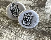 Sweet Cactus Plant Earrings / Hand Stamped Post Earrings / Wanderlust Earrings / Boho Gardener / Cactus Plants