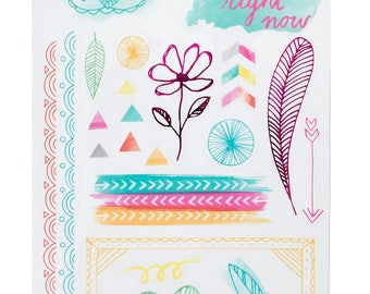 Amy Tangerine Rise and Shine - Accent and Phrase Stickers  -- MSRP 4.00