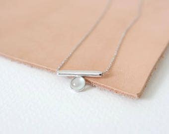 Bar - Aqua Chalcedony Necklace, Bridesmaids Gift, Gifts for Her