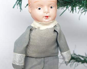 1940's US Navy Sailor Christmas Tree Ornament, Antique Military Doll with Celluloid Face, WW2