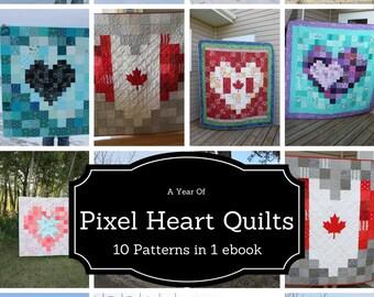 Heart Quilt Patterns, Quilt ebook, Pixel Heart Quilt Patterns, Beginner Friendly Patterns, A Year of Pixel Heart Quilts ebook, ten patterns