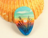 StudioStJames Artisan Crafted Polymer Clay 26x38 mm Focal Bead  Pendant-Seascape-Sunset-Beach Themed-Blue-Yellow-Orange-PA 100777