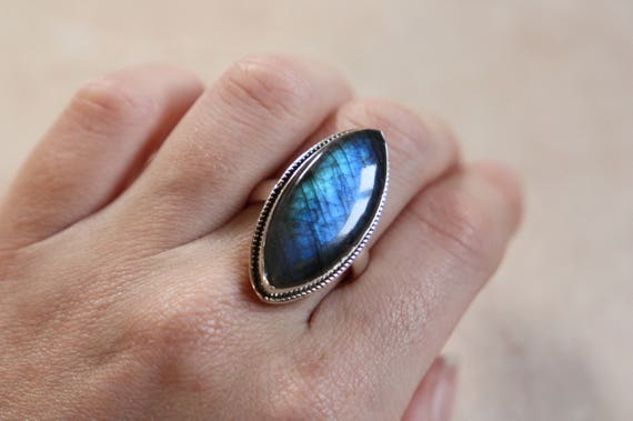 RARE LABRADORITE RING - One size - Sterling silver ring - Crystal ring  - Semi precious - Labradorite jewellery - Statement - Valentines