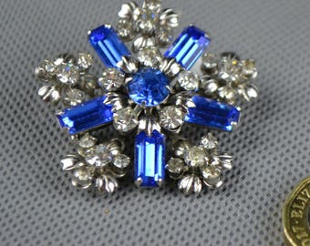 Vintage 1950's 50's Blue and Clear Diamonte Paste Snowflake Shape Brooch S