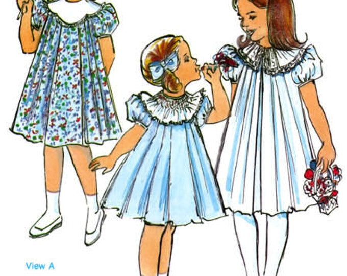 Kathy-Kelly Pattern / Pleated Dress Pattern / Girls Dress / Puffed Sleeves / Collar Variations / Children's Corner Pattern # 26