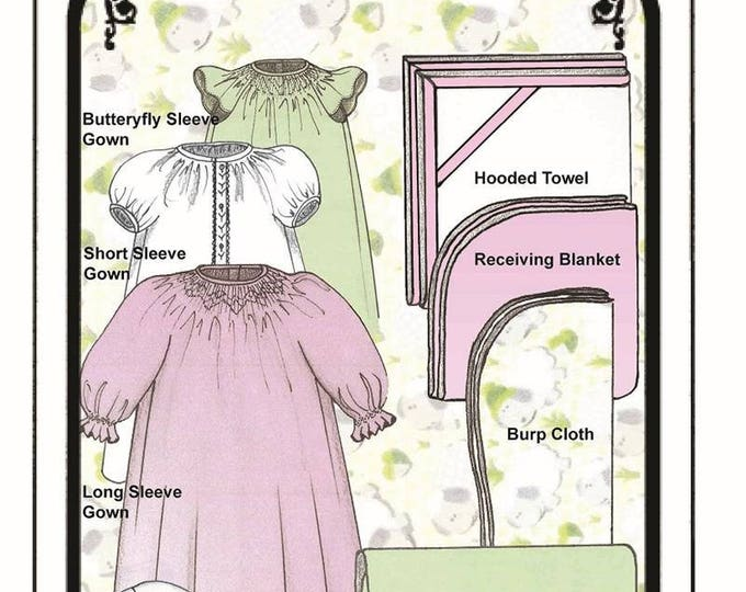 Baby Layette/ Preemies / Smocked / Nightgown / Blanket/ Hooded Towel / Burp Cloth / Bunny Wash Cloth / Changing Pad / By Judith Marquis