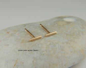 14K Gold Studs Minimalist Earrings Gold Bar Earrings Solid Gold Earrings Gold Line Earrings Minimalist Jewelry