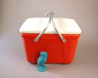 Vintage 60s mod retro red orange medium size cooler food storage Poloron blow mold plastic party beach cookout mid century picnic basket
