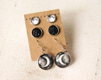 Moon Earring Set - Lunar Jewelry Black Druzy