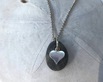 petite beach stone sterling silver heart necklace, beach stone necklace, sterling silver heart beach stone necklace, beach stone necklace