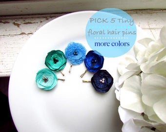 """PICK 5 Tiny Flower Small Hair Pin Green & Blue Hair Accessories Floral, Mint Navy Satin Silk Cornflower bridal Clips 1"""" Hairpin Toddler Girl"""