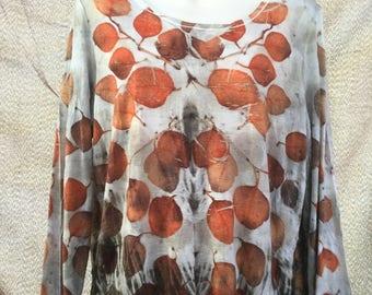 Leaf Print Eco Natural Dye Merino Wool Light Thermal Long Sleeve Top Shirt Size L