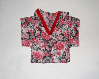 Red Floral Large Scrub Top