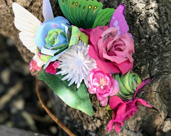 Butterfly Fairy Headband - Flower Crown - Festival Wear - Flower Headband - Butterfly headband - Fairy Crown. READY TO SHIP.