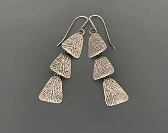 Sterling Silver Solasta-III Dangle Earrings, long earrings, everday elegant earrings, oxidized, gift