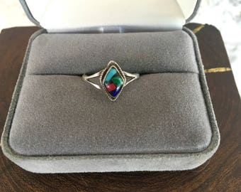 Gemstone Inlay Ring Vintage Mexican Ring Size 6 1/4 Crushed Turquoise Ring Sterling Silver Southwestern Jewelry Mexico Souvernir