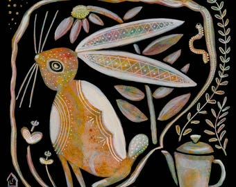 Coffee Pot and Hare, fine giclée reproduction of an original painting by Lisa Firke