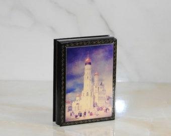 Vintage Wood Jewelry Box, German, Ivanovskaya Square, Moscow, Moscow Kremlin, Eduard Gertner, Ring Box, Sewing Box, Treasure Box, Scissors