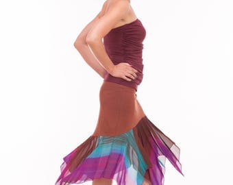 "Tango Skirt ""Flamenko"" in Brown, Fuchsia Teal Brown Tango Skirt, Custom Made Tango Skirt in Jersey and Chiffon"