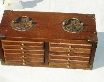 Vintage Wooden and Cork Coaster Set - 12 Coasters