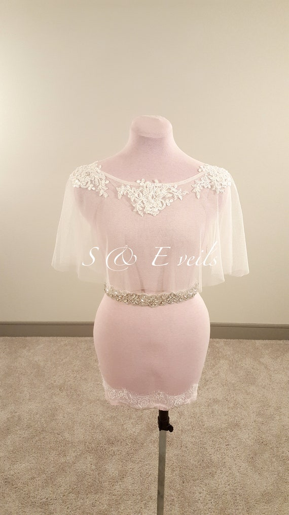 Wedding Cape with beaded  Applique