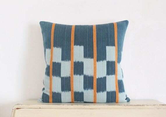 "Vintage African Baule strip cloth pillow cushion cover 20"" x 20"""