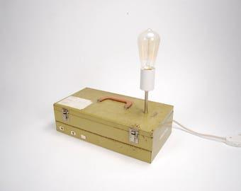 Vintage Industrial Lamp, Industrial Lighting, Metal Lamp, Green Lamp, Midcentury Lamp, Camera Decor, Upcycled Lamp, Table Lamp,