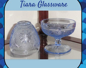 INDIANA TIARA Glassware Light BLUE Sandwich Pattrn Pressed Glass 2 Piece Fairy Lamp
