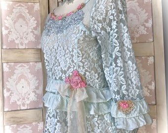 Aqua Laces Cottage Top Ruffles N' Roses Rustic Tattered Doll Size Medium/ Small