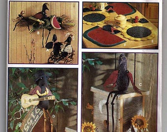 Crow Decorations and Place Mats / Original Simplicty Crafts Uncut Sewing Pattern 8930