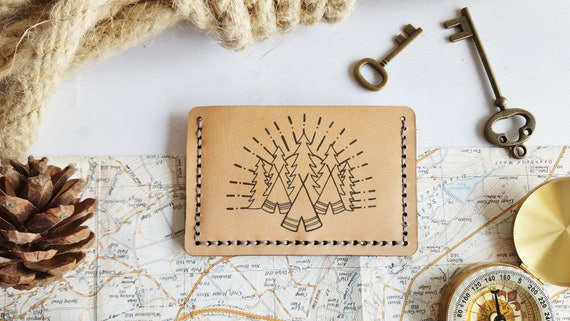 Camping Card Wallet, Personalised leather card holder, hand stitched wallet, fathers day gift, mountaineering boyfriend card holder