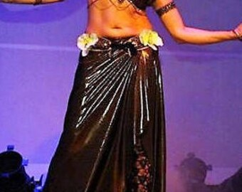 CUSTOM MADE Skirt,  Tribal fusion belly dance costume, Bronze metallic.