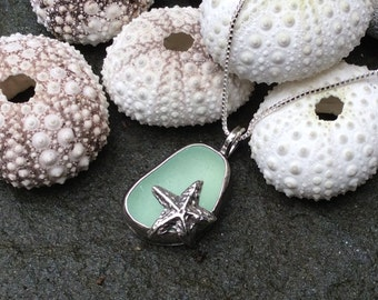 Seaglass jewelry,  Bezel set sea foam green sea glass and sterling silver starfish necklace