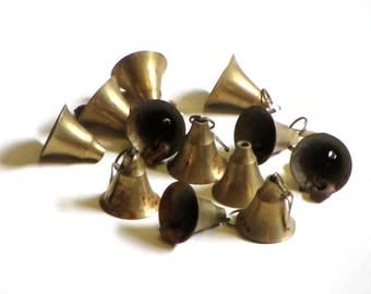 One Dozen Solid Brass Bells With Clappers Musical Vintage Smooth Side Crafting Holiday Decorations