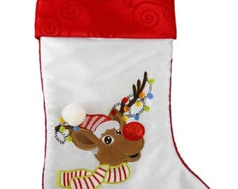 Personalised Christmas Stocking, Green with reindeer