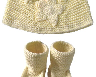 Yellow Flower Organic Cotton Knit Hat Beanie and Bootie Set